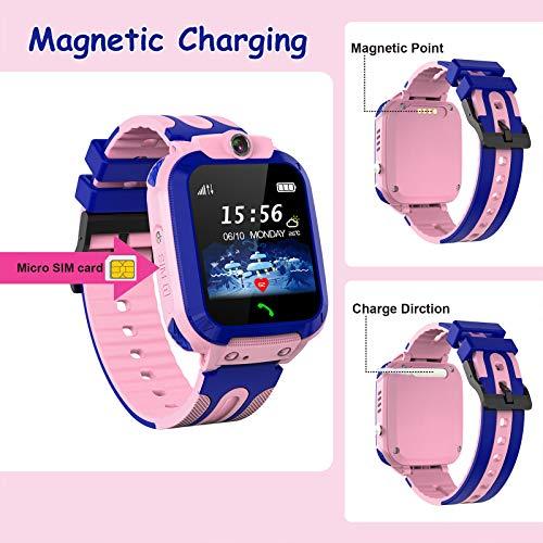 Smartwatch Kinder Wasserdicht Uhr Phone Kinder mit LBS Tracker SOS Voice Chat Kinder Smart Watch für Jungen und Mädchen Geburtstagsgeschenk (Pink)