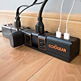 Echogear Rotating Surge Protector Power Strip with 2 USB Ports & 6 Rotating AC Outlets - 1080 Joules of Heavy...