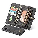 Reemplazo compatible For el caso del iPhone X, Dos en Uno-Multi-funcional hechos a mano del Monedero de cuero del caso con la tarjeta de crédito y las ranuras de la cubierta desmontable, de primera ca