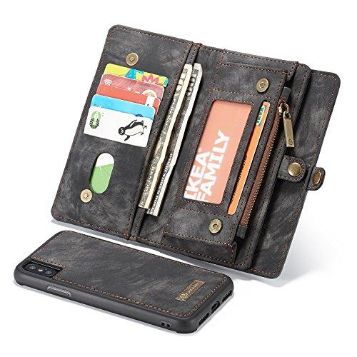 LJJOO Cremallera Monedero for X Caso del iPhone, 2-En-1 Caja de Cuero de múltiples Funciones de la Vendimia Hecha a Mano con la Tarjeta de crédito Ranuras y Cubierta Obliterable Carcasas y Fundas