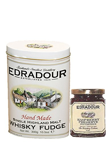 Edradour sweet Collection mit 300g Malt Whisky Fudge und 227g Raspberry Marmelade