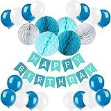 Recosis Geburtstag Dekoration, Happy Birthday Girlande mit Luftballons Latexballons und Wabenbälle Papier für Geburtstag Dekoration - Blau