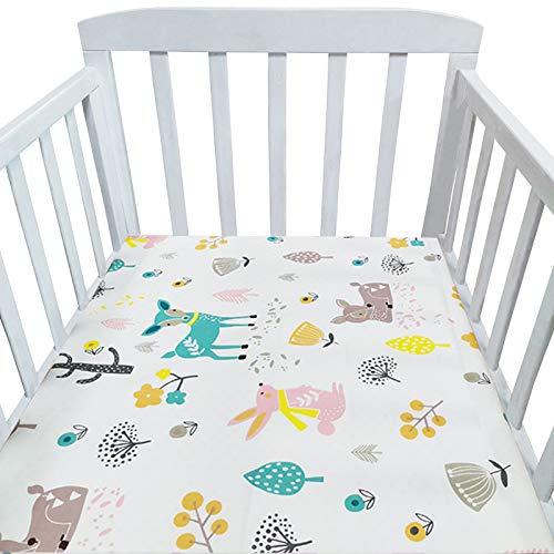 Acogedor Hoja Ajustada para bebés para recién Nacidos Hoja de Cama de Cuna Suave de algodón para niños Cubierta de colchón Protector 130x70cm para Hotel en casa (Color : Silver)