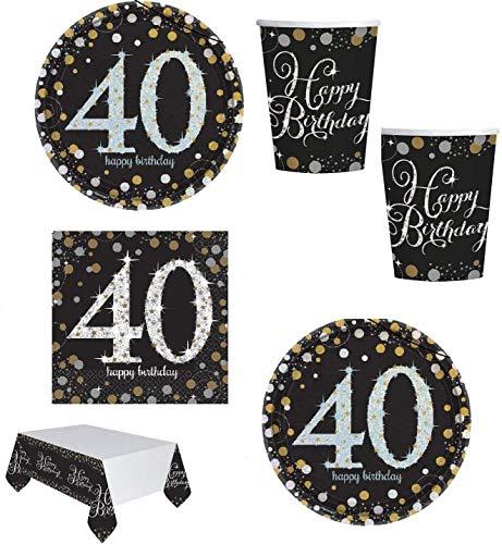 Mgs33 Kit Anniversaire 18, 30 ,40, 50 Ans Complet ,Table 16 Personnes (16 Assiettes, 16 gobelets, 16 Serviettes, 1 Nappe ) fête, Or doré argenté Gold Silver Brillant (40 Ans)