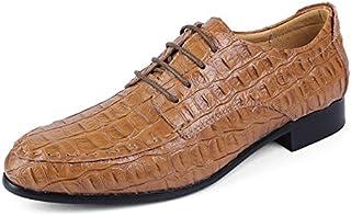 Sygjal Men Business Oxford Simple Crocodile Round Toe Formal Retro Pattern Gloss Upper Shoes (Various Colors Optional) (Color : Light Brown, Size : 50 EU)