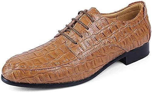 EGS-chaussures Hommes Oxford Décontracté Décontracté Classique Crocodile Cravate Tête Classique Chaussures de Cricket (Couleur   Light marron, Taille   46 EU)