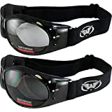 Two Pairs of Global Vision Eliminator Deluxe Red Baron Style Padded Motorcycle Goggles Black Frames Smoke and Clear Lens