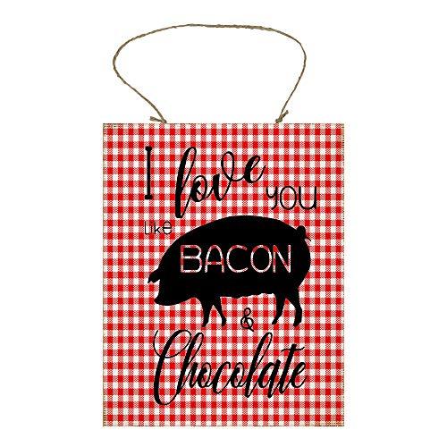 I Love You Like Bacon & Chocolate Printed Handmade Wood Sign