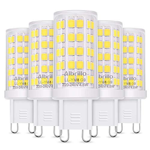 Albrillo 5er Pack 4.5W G9 LED Lampe 500 Lumen, Kein Flackern und 6000k kaltweiß G9 LED Leuchtmittel Ersatz 50W G9 Halogenlampe, 360° Abstrahlwinkel, nicht dimmbar