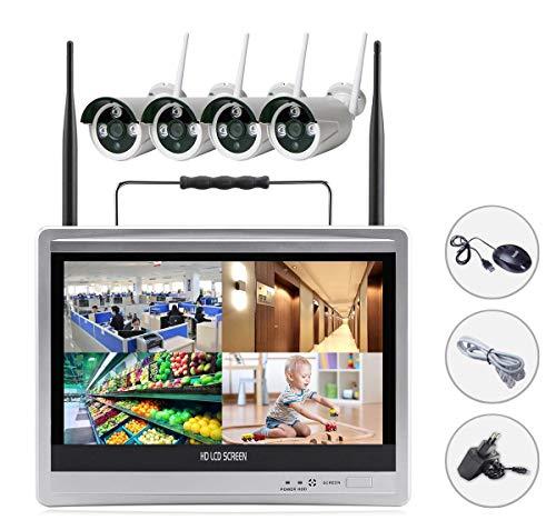 EDSSZ® Sistema de cámaras IP inalámbricas de 4 canales 960P Sistema de fácil acceso IR Day / Night Vision Cámara impermeable, portátil 12 pulgadas HD LCD Monitor WIFI NVR KIT EDS-WIFILCD12-960P