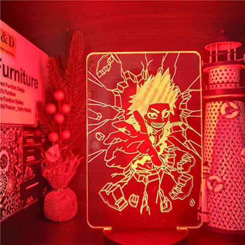 3D Night Light for Boys,Hero Academia EIJIRO Kirishima Led Anime LAMP Color Changing Nightlights lampara for Home Decor for Xmas/Birthday(Remote Control)