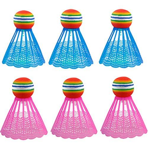 Palline a LED adminton, illuminazione unica Birdies in nylon, si illuminano al buio, per giochi di famiglia in cortile, attività all'aperto e al chiuso (6 pezzi, A-3)