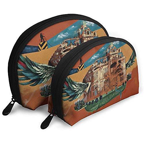 Surreale Kunst tragbare Taschen Make-up Tasche Kulturbeutel, Multifunktions tragbare Reisetaschen kleine Make-up Clutch Pouch mit Reißverschluss