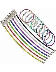 ワイヤーキーホルダー ステンレス製 ワイヤーリング ネジ式 鍵 キー ロックワイヤー 紛失/盜難防止10本 8色組み