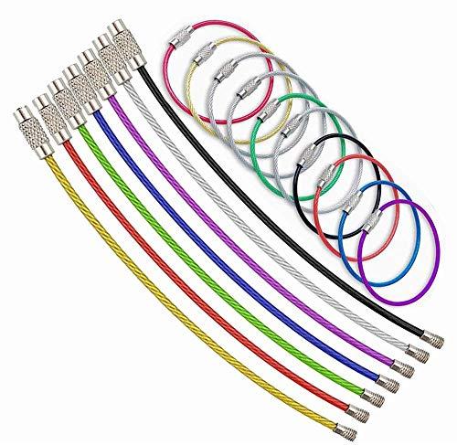 ワイヤーキーホルダー ステンレス製 ワイヤーリング ネジ式 鍵 キー ロックワイヤー 紛失/盗難防止10本 8色組み (10本セット)