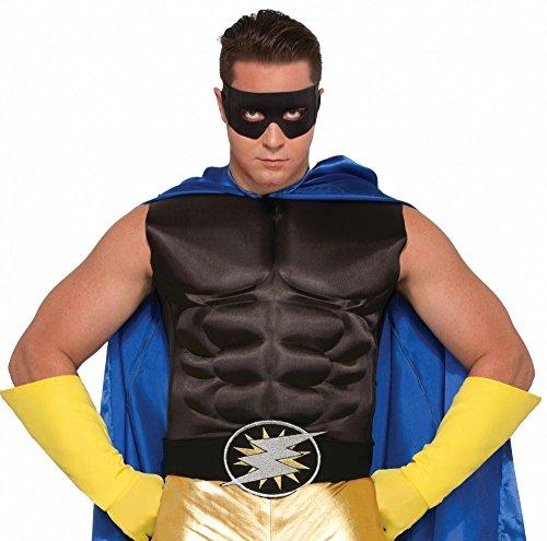 shoperama Accessoires für Superhero Herren Kostüm, Muskelshirt Schwarz