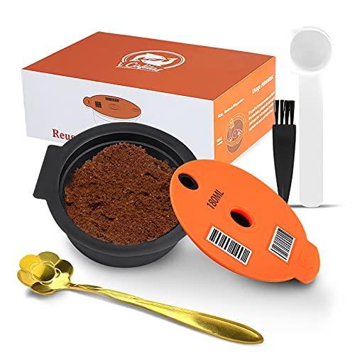 Kapsułki do kawy wielokrotnego użytku do ekspresów Bosch Tassimo do wielokrotnego napełniania kapsułki kubki z silikonową pokrywą filtr do kawy wielokrotnego napełniania z czytelnym kodem kreskowym (180 ml)