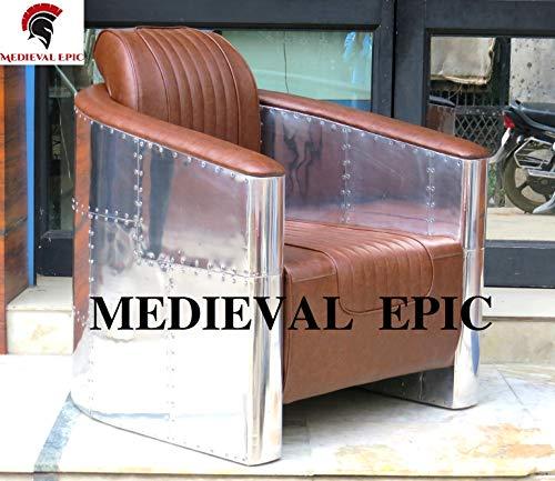 Sedia da aviatore medievale epica in alluminio marrone chiaro in pelle stile vintage industriale