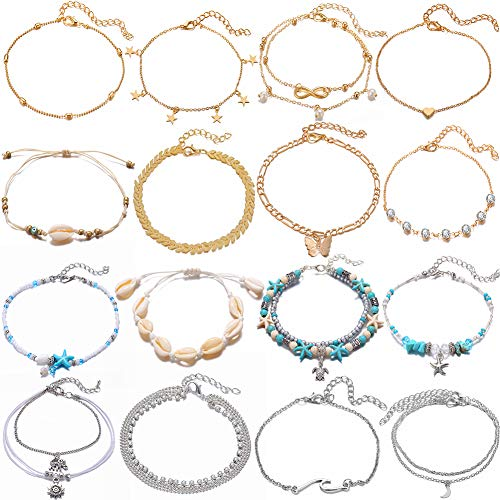 16 PCS Waterproof Anklet Bracelets Set for Women Girls Adjustable Boho Beach Blue Starfish Turtle Butterfly Conch Shell Chain Ankle for Foot Jewelry