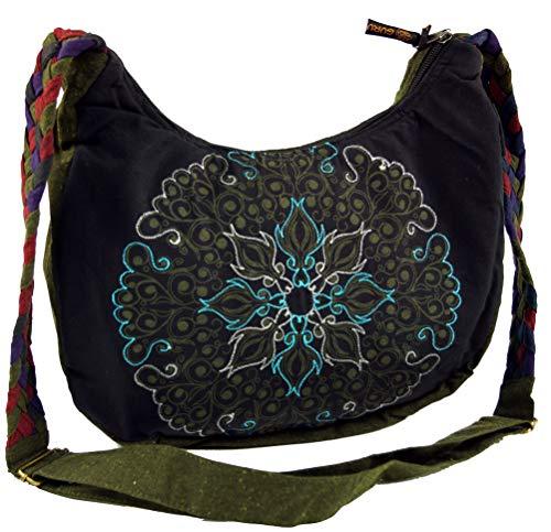GURU SHOP Ethno Schultertasche, BohoTasche Mandala, Nepal Tasche - Schwarz, Herren/Damen, Baumwolle, Size:One Size, 26x33x5 cm, Alternative Umhängetasche, Handtasche aus Stoff