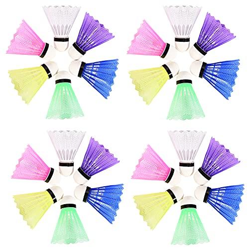 FORMIZON Badminton Federball, 24 Stück Badminton Bälle, Bälle Naturfederbälle Regenbogen Federbälle für Indoor,Outdoor Sport, Training, Unterhaltung, Bewegung
