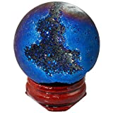 rockcloud Natural Titanium Coated Druzy Agate Geode Blue Flame Aura Ball Divination Sphere with Wood Stand