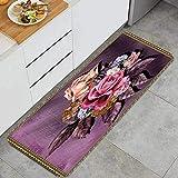 Cocina Antideslizante Alfombras de pie Acuarela Flores Hojas Fondo Texturizado Decoración de Piso Confortables para el hogar, Fregadero, lavandería-120cm x 45cm