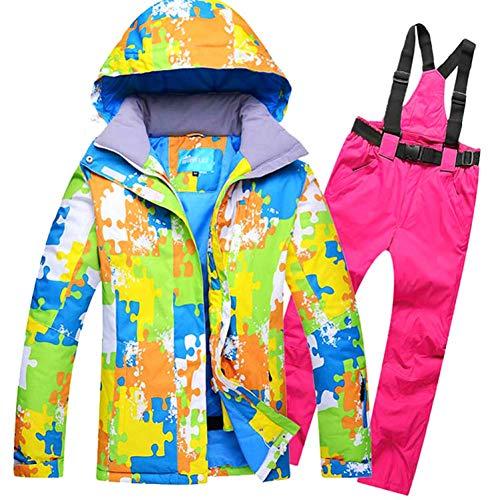 ZLJKK pour Les Femmes Costume De Ski Coupe-Vent Imperméable Sports De Plein Air Porter Veste De Sport De Snowboard + Pantalon pour Les Filles Vêtements Chauds,Q3,XL