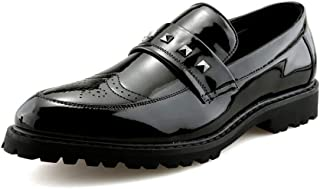 shangruiqi Men's Business Oxford Casual Personality Rivet Patent Leather Brogue Shoes Abrasion Resistant (Color : Black, Size : 8.5 UK)