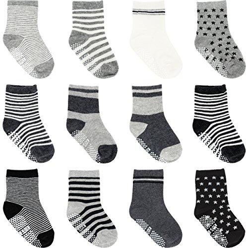 Ateid Bébé Tout-petits Chaussettes Antidérapantes Chevilles Socquettes Coton 1-3 Ans Paquet de 12