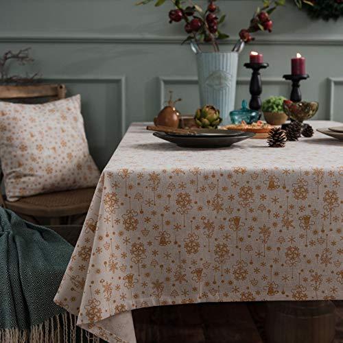 YCZZ tafelkleed, bronskleurig/kerstgroen, feestelijk tafelkleed van katoen en linnen, bedrukt met campanule, rechthoekig, van stof