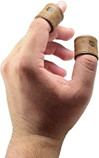 Hide & Drink, Leather Ring Thimble (2 Pack) / Finger Protector/Sewing Thimble, Handmade :: Bourbon Brown
