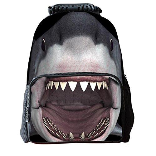 3d Shark fácilmente Flag juvenil Mochila Bolsas de viaje Student Mochila School Bag, Gray