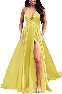 Jonlyc A-Line Halter Deep V-Neck Satin Long Prom Evening Dresses with Slit