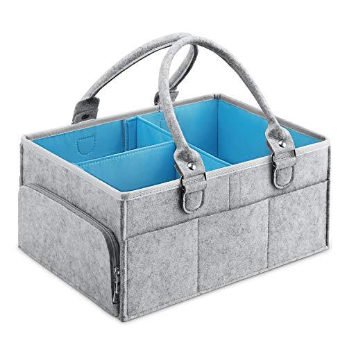 MaidMAX Baby Windel Caddy Filztasche, tragbarer Wickeltisch Organizer Multifunktionale Wickeltasche, Filzkorb Aufbewahrungsbox mit wechselbaren Fächer für Kinderzimmer, Auto und Reise -Blau