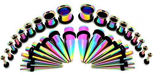 Titanium Anodized Steel Ear Stretching Taper and Tunnel Kit - 36 Piece Set 14G to 00G