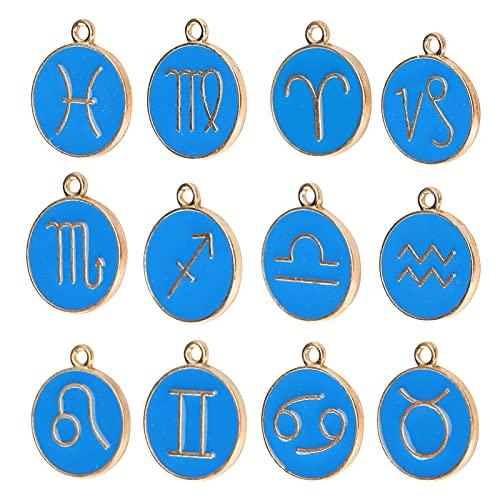 Colgante de constelaciones, aleación, colgante de 12 constelaciones, exquisito duradero para collar, diseño de aretes para manualidades de bricolaje para pulsera personalizada(azul real)