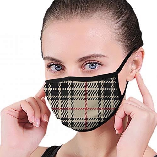 Rot Schwarz Tartan Plaid Tuch Buffalo Waschbar Wiederverwendbare Mundmaske Baumwolle Anti Dust Half Face Mundmaske Für Männer Frauen Staubdicht Mit Einstellbaren Ohrbügeln