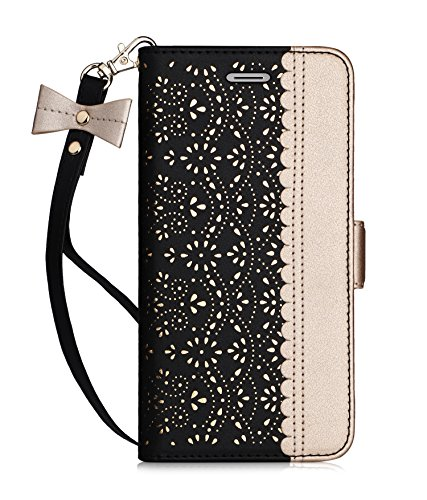 """WWW Homelove iPhone 6S Plus Case, iPhone 6 Plus Case 5.5"""",[Luxurious Romantic Carved Flower] Leather Wallet Case with [Inside Makeup Mirror] and [Kickstand Feature] for Apple iPhone 6/6S Plus Black"""