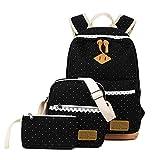 Mädchen Tasche 3 Set Daypack mit Schulrucksack, Schultertasche, Geldbeutel SKYIOL Segeltuch Tagstasche mit Punkten und Spitzen Perfekt für Schule Reise Freizeit (Schwarz)