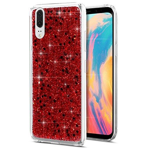 Ysimee Compatible avec Coque Huawei P20,Paillettes Glitter Briller Bling Étui de Téléphone Ultra Mince Anti Scratch Caoutchouc Bumper Cover Souple Gel Silicone Housse - Bling Rouge