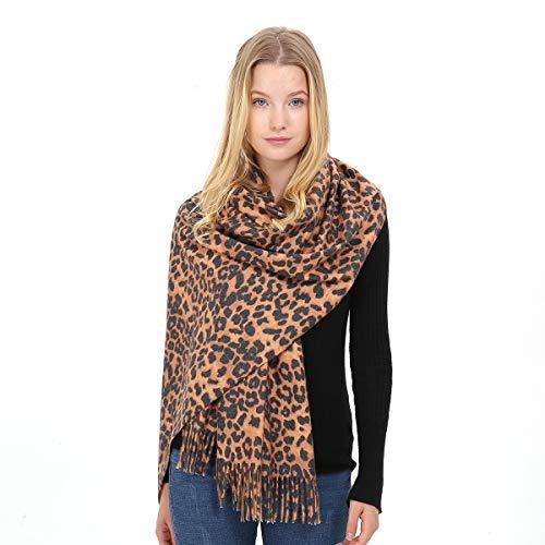Divine Shield Cozy Leopardo Bufanda Larga Tartán Enrejado Mantón Caliente Mantas (Ultra Soft) de Invierno 200 * 70cm - Longitud Completa