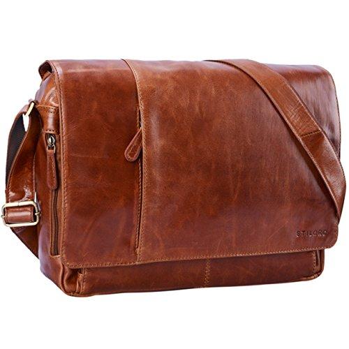 STILORD Vintage Bolso Mensajero Piel Bolso Bandolera diseño Bolso para Estudiantes maletín de Trabajo para portátil 15,6 Pulgadas de Cuero auténtico de búfalo, Color:Cognac - Brillante