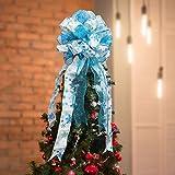BELLE VOUS Decoracion Punta Arbol Navidad - 86 x 33cm Moño Azul y Blanco Poliéster Grande con Bordes con Alambre - Cinta de Navidad con Purpurina - Adorno Decorar Punta Árbol de Navidad para Fiestas