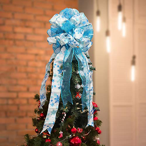 BELLE VOUS Christmas Tree Topper - 86 x 33 cm Blue and White Colour Polyester Large Toppers Bow with Streamer Wired Edge - Glitter Tree Topper Ornaments for Xmas Party Decorations