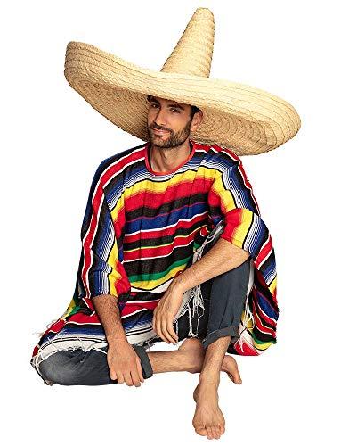 Boland 95472 - Sombrero Zapata, Größe ca. 100 cm, Naturfarben, Mexico, Fiesta, Riesen Sombrero, Kopfbedeckung, Accessoire, Motto Party, Karneval