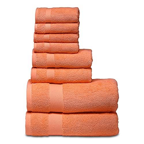 IAMZHL Juego de Toallas de baño, 2 Toallas de baño Grandes, 2 Toallas de Mano, 4 paños.Toallas de baño de algodón Altamente absorbentes (Paquete de 8)-a48-8 Towels Set
