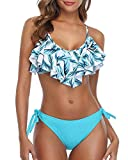 Tempt Me Blue Flounce Bikini Side Tie Bottom Padded Ruffled Top Two Piece Swimsuit for Women Sexy Triangle Bathing Suit Blue Leaves XL