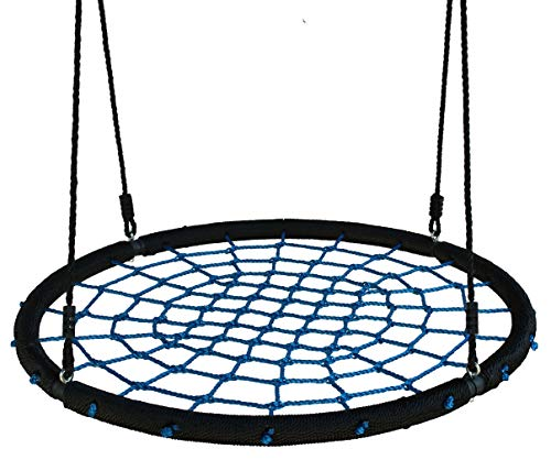 KL KLB Sport 40' Spider Web Tree Swing for Kids - Round Net Swings w/ Hanging Ropes - Holds 660 lbs Extra Strong Outdoor Web Tire Swing (Blue)