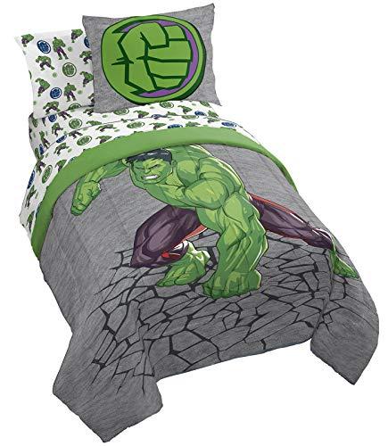 Jay Franco Marvel Hulk Fist 7 Piece Full Bed Set - Includes Comforter & Sheet Set Bedding - Super Soft Fade Resistant Microfiber (Official Marvel Product)
